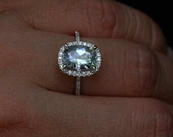 Cushion Aquamarine Engagement Ring in 14k White Gold with Aquamarine Cushion 9x7mm and Diamonds