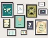 Travel Gallery Wall Nursery Prints, Travel Nursery Decor, Childrens Wall Art, Travel Poster, Digital Nursery Prints Set of 11
