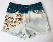 Vintage Sheplers High Waist  Bleached and Distressed Denim Cut Off Cat Shorts