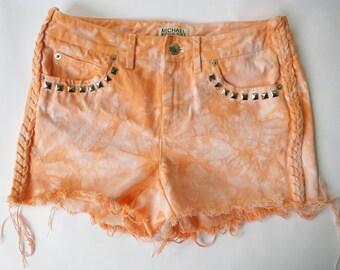 Vintage MK High Waist Orange Dyed Distressed Studded Denim Cut Off Shorts