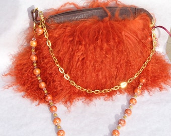 Burnt Orange Mongolian Lamb Purse with Two Handles