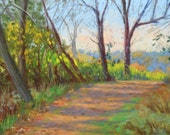 "Original Art, Original Pastel Painting, Landscape Painting, hiking trail, October,  Autumn scene, ""FALL COLORS"" - by Artist Colette Savage"