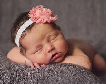 Ready to Ship.Salmon Pink Shabby Chic Headband..Newborn Headband..Baby Girl Headband..Headband..Infant Headband..Baby Headband.Headband