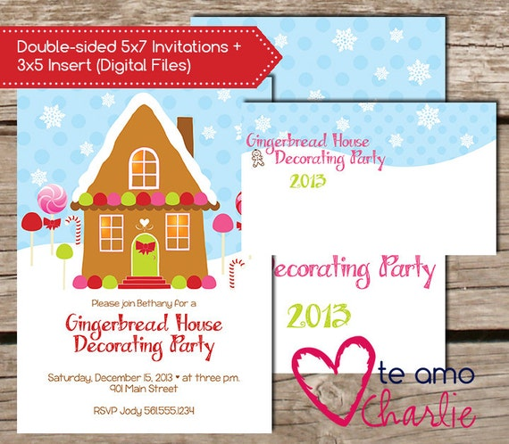 Gingerbread house decorating party invitations 3x5 Gingerbread house decorating party invitations