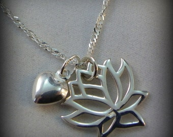 Lotus necklace, Yoga necklace, meditation jewelry, sterling silver necklace