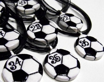 9 Soccer Ball Necklaces Personalized with Player's Numbers - Team Spirit, Spiritwear, Gifts for Soccer Players, Soccer Moms, Futbol, Party