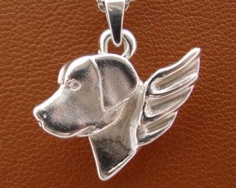 Small Sterling Silver Labrador Retriever Angel Pendant