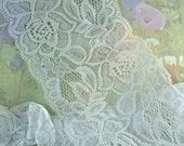 Elastic Lace Trim White 3 1/2 inches wide diy wedding Stretch Lace Headbands Floral Design Flower Elastic Lace by the yard