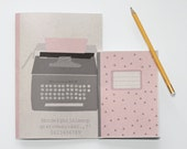 "Notebook set - typewriter - pink and grey - A5 and A6 - ""Signe & Alvina"""