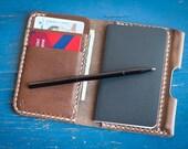 The Park Sloper Junior, wallet+notebook+pen, Horween natural Chromexcel leather wallet, front pocket wallet, slim wallet - natural CXL