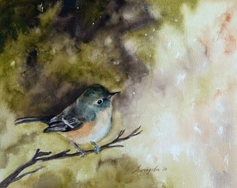 watercolor painting of bird art print bird print ATC bird painting victorian cottage chic trading card vireo green SMALL Artist Trading Card