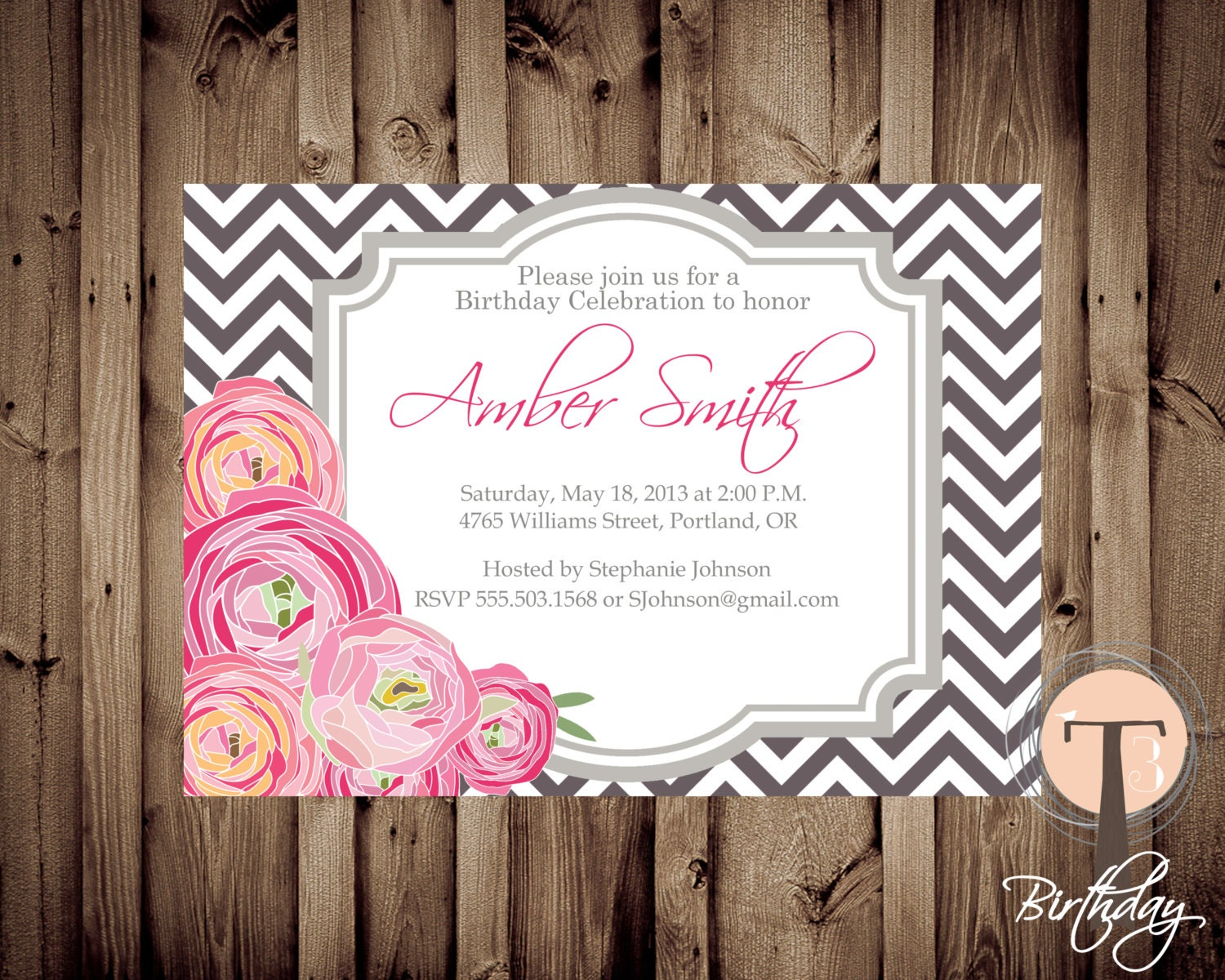 Peonies Birthday Invitation Chevron Elegant Adult 30th 21st Party 1136