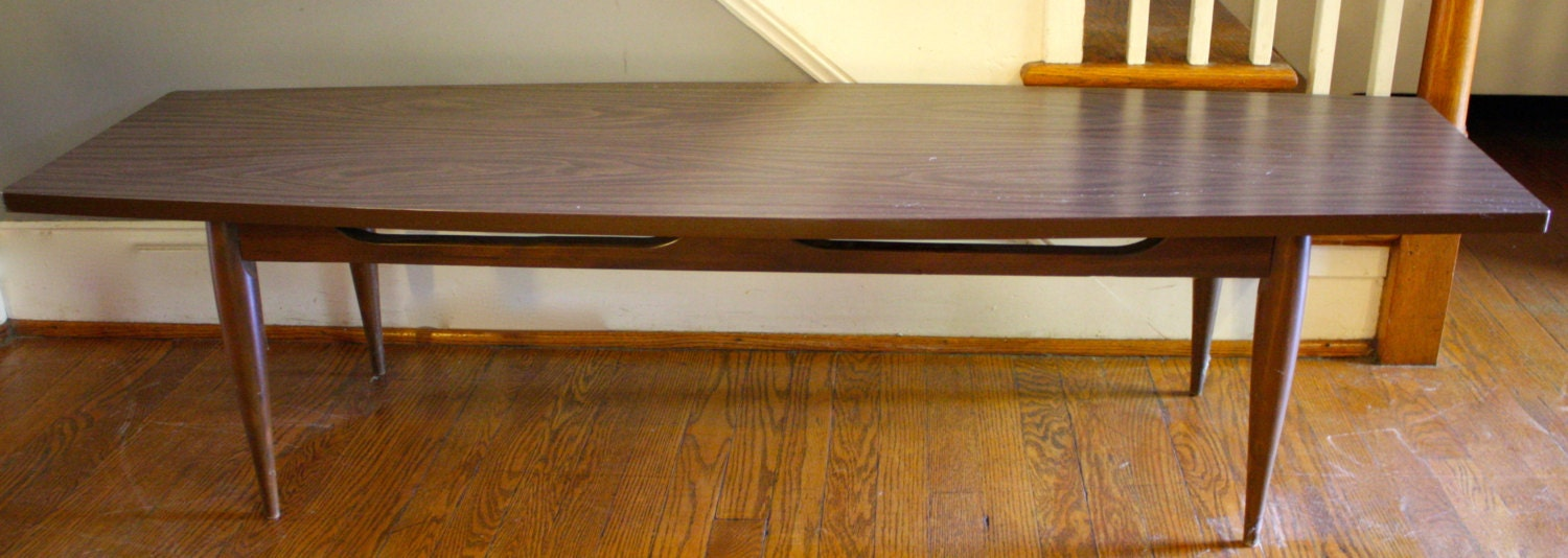 Mid century modern surfboard coffee table long thin formica Long thin coffee table
