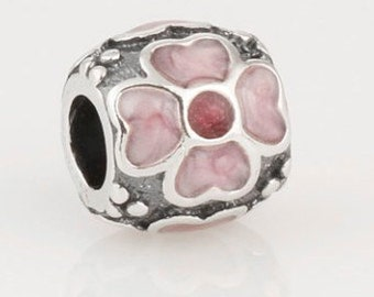 PINK ENAMEL FLOWER .925 Sterling Silver European Charm Bead