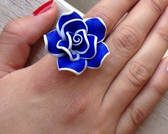 Large polymer clay rose ring