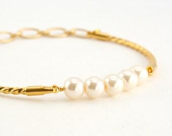 Pearl Bracelet, Cream White Pearl, Wedding Jewellry