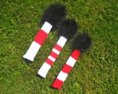 Nantucket Golf Club Covers -Hand Knit in Red/White with Black (Sankaty) or Red (NGC) Fun Fur Heads
