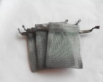 75 5x7 Dark Grey Organza bags jewelry supplies packaging