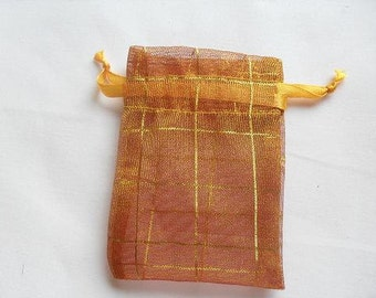 3x4 Golden Yellow Organza bags, 100 bags jewelry supplies packaging