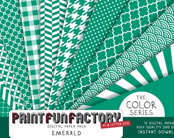 Emerald green digital paper - Emerald scrapbook background patterns - 12 digital papers (#040) INSTANT DOWNLOAD