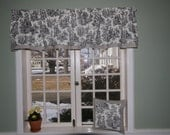 """Waverly """"Black Toile Ticking Straight Valance"""" Measures 15""""x 72"""" Lined with Quality drapery Lining"""