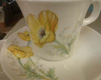 Noritake Buttercup Craftone 8769 Set of 8 Cups and Saucers