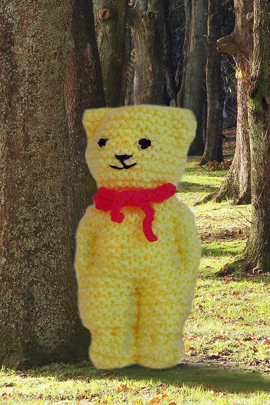 Easy Knitting Pattern For Teddy Bear : Knitted teddy bear pattern easy to follow instant download