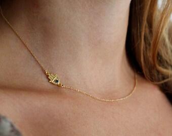 Tiny Sideways Hamsa Necklace, Gold Hamsa Hand Necklace, Protection Necklace, Small Hamsa