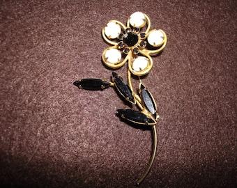 Large Vintage Black White Glass Rhinestone Flower Brooch Pin