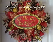 HO HO HO..Be Jolly...Leopard Christmas Wreath - ADoorableCreations05