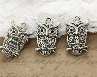 10 Antique Silver Owl Charms 22x13MM Ships quickly from Oregon