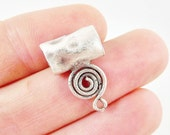 3 Medium Organic Rustic Curl Spiral Wire Wrap Bails - Matte Silver Plated