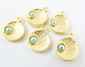 NEW - 5 Pale Aqua Blue Pearl Bead 22k Matte Gold Plated Inverted Dome Shaped Charms