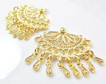 2 Delicate Exotic Filigree Chandelier Earring Component Pendants - 22k Gold Plated