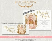 Glitter Christmas Minis -  Gold Holiday Mini Session Promotion Template - photography -  psd - INSTANT download