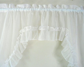 Vintage White Ruffled Swag Curtain