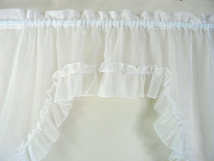 Vintage White Ruffled Swag Curtain By Longsince On Etsy