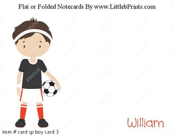 Soccer Boy Note Cards Set of 10 personalized flat or folded cards