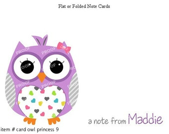 Purple Hearts Owl Note Cards Set of 10 personalized flat or folded cards