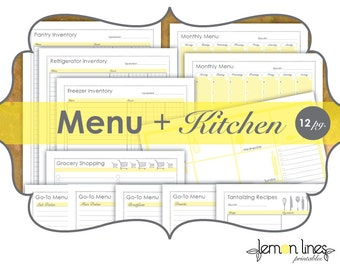 Menu Planning & Kitchen Organizing Printable Pack - INSTANT DOWNLOAD