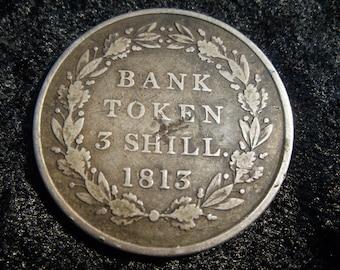 1813 George III 3 Shilling Bank Token, V-Fine, KM# Tn5, Silver, English Coin, England