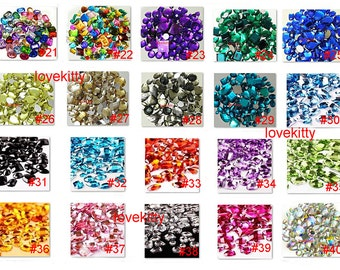 30 pcs Lot  Flat Back Gems Mixed Shapes & Sizes for Diy Project ( choose your color )