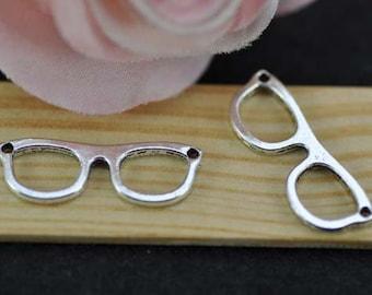 20 pcs Antique Silver Eye Glasses Charm Pendant,Sunglasses charms connector, Glasses Charm Connector 10x28mm