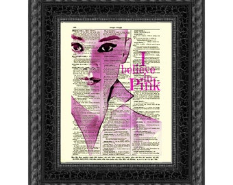 """Audrey Hepburn """"I Believe In Pink"""" Dictionary Art Print, Buy 2 Get 1 Free, Wall Decor, Dictionary Page Art, Mixed Media Art"""
