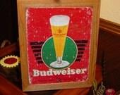 Budweiser Anheuser Busch Beer custom framed solid cedar wood 15X18 man cave metal vintage bar sign oak finish country rustic wall display