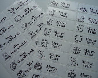 White labels, name labels, waterproof for school, sticker