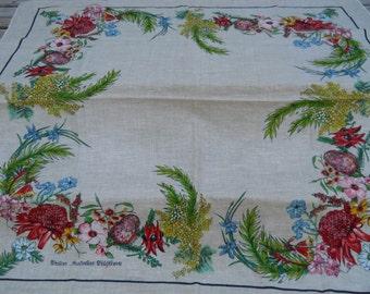 Vintage Tablecloth, Australia Souvenir, Western Wildflowers, Linen, Colorful