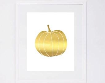 Gold Pumpkin, fall, thanksgiving, Halloween Printable