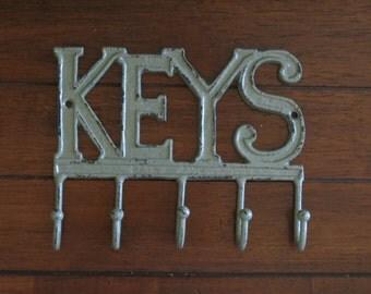 K E Y S Key Rack /Metal Wall Sign with Hooks / Key Hanger / Key Holder / Wall Keys Sign / Entrance Foyer Hook Rack /Sage Green or Pick Color