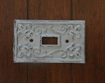 Light Gray Light Switch Cover / Or Pick Your Color/ Light Plate Cover / Cast Iron / Wall Decor / Fleur de lis Pattern / Vintage Style